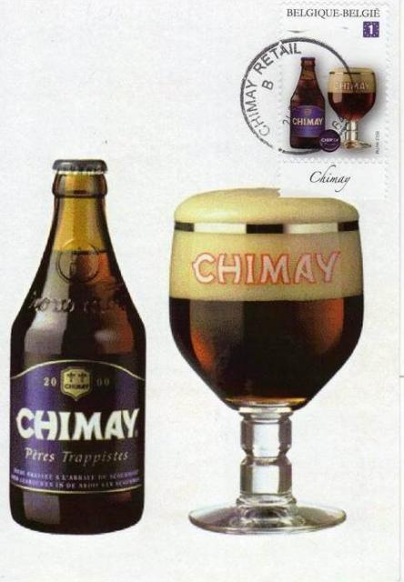 carte maximum avec le timbre Trappiste de Chimay de 2012